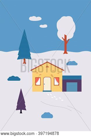 Winter Snowy Countryside Landscape With House And Trees Flat Vector Illustration.