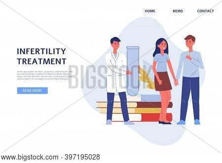 Infertility Treatment Website Banner With Gynecologist, Flat Vector Illustration.