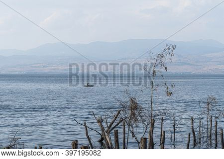 Blue Cloudy Sky Over The Sea Of Galilee And Golan Heights Over The Sea Of Galilee And Golan Heights.