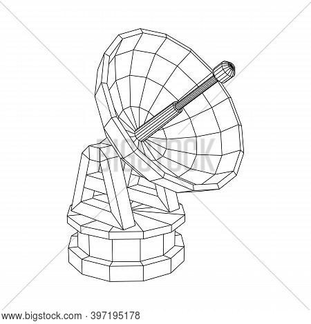 Radar. Directional Radio Antenna With Satellite Dish. Astronomy Radio Telescope . Wireframe Low Poly