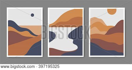 Vector Set Of Minimalist Mountain Landscapes, Cover Design, Posters, Abstract Art, Cards. Mountain L