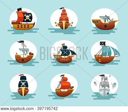Pirate Cartoon Ships Set. Play Corsair Schooners Ragged Sails With Cannons And Anchors Flying Dutch
