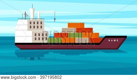 Cargo Ship With Containers Illustration. Large Sea Freight Carrier With Red And Green Metal Crates S