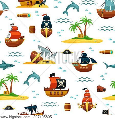 Pirate Ships And Treasures Seamless Pattern. Mountains Of Gold From Wrecked Ships And Green Palms Is