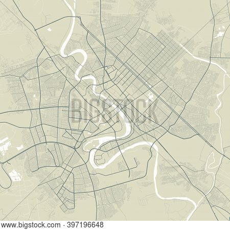 Detailed Map Of Baghdad City Administrative Area. Royalty Free Vector Illustration. Cityscape Panora