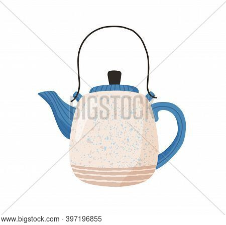 Ceramic Teapot Isolated On White Background. Cute Tea Kettle In Retro Style. Hand Drawn Kitchen Croc