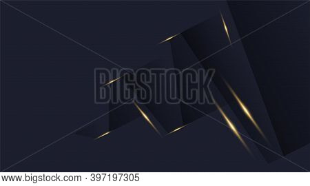 Vector Graphic Design Background, Modern Abstract Blue Black, Dark Shadows And Shiny Gold Shimmer