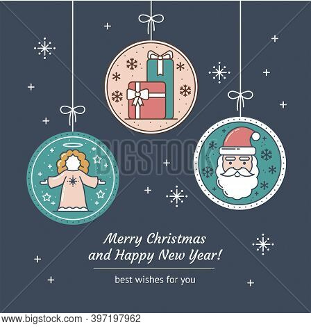 Merry Christmas And Happy New Year Greeting Card With Line Art Native Angel, Gift Package, Santa Cla