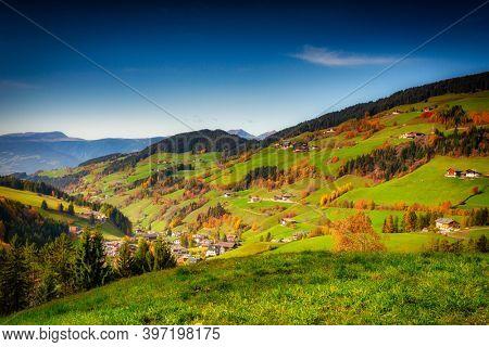 Idyllic scenery of the Santa Maddalena village in South Tyrol at autumn. Italy