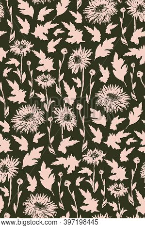 Silhouettes Of Chrysanthemum In Full Bloom On Khaki Background. Freehand Autumn Vector Seamless Patt