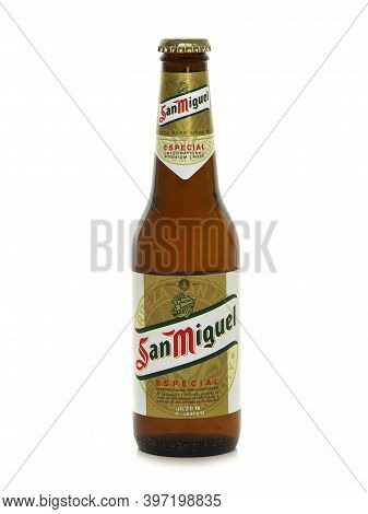 Bucharest, Romania - December 30, 2016. Bottle Of San Miguel Especial Original Lager Beer Isolated O