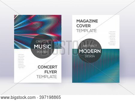 Modern Cover Design Template Set. Red Abstract Lines On White Blue Background. Exquisite Cover Desig