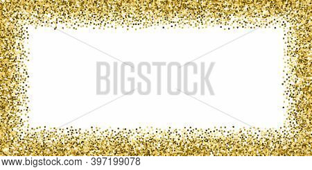 Gold Glitter Luxury Sparkling Confetti. Scattered Small Gold Particles On White Background. Bold Fes