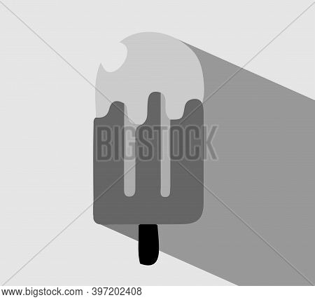 Ice Cream Icon Isolated On Background , Soft, Sorbet, Souffle, Spoon