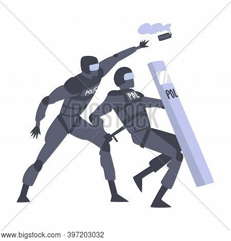 Riot Police Officer In Uniform With Shield And Baton Throwing Smoke Grenade Vector Illustration