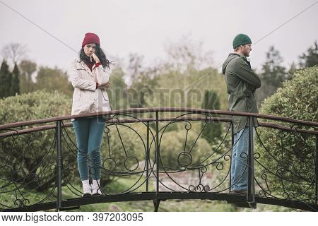 Couple Standing Separately After Having An Argument Bad Vibes.