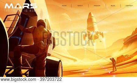 Vector Illustration Of Missions On Mars For Landing Page Template