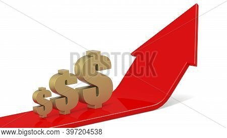 Golden Dollar Sign With Red Arrows Going Up, 3d Rendering
