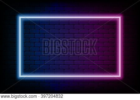Color Rectangle Neon Frame. Glowing Neon Light In Rectangle Shape. Colored Bright Sign At Brick Wall