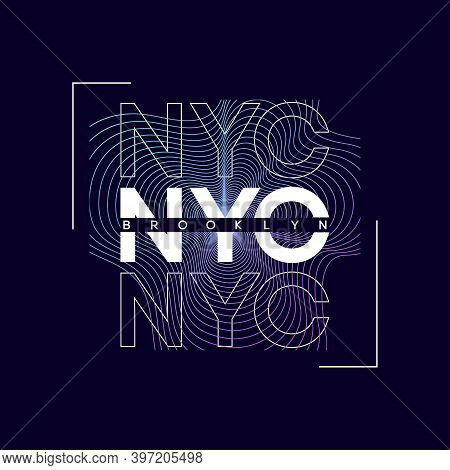 Nyc, New York City T-shirt Design With Abstract Colored Print. Brooklyn Typography Graphics For Tee