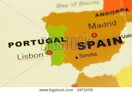 Portugal And Spain On Map