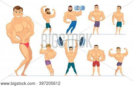 Muscular Man. Gym Characters Sport People Making Exercises Bodybuilders Posing Muscular Athletes. Ve