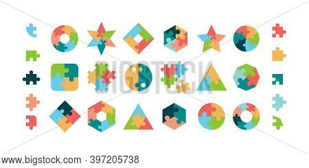 Puzzle. Jigsaw Pieces Various Geometrical Forms Round And Square Puzzle Parts Vector Collection. Ill