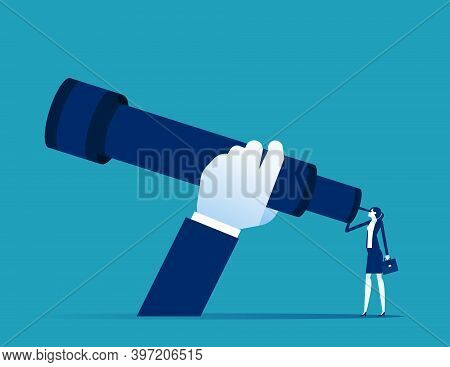 A Businesswoman Using A Telescope. Expansion Looking For Investment. Big Hand And Big Telescope