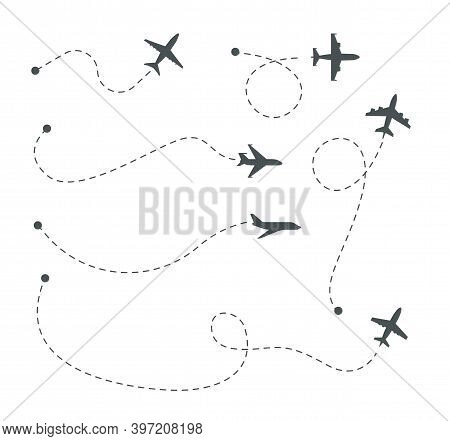 Plane Paths. Airline Routes, Airplane Silhouettes And Dotted Trails Vector Set. Illustration Plane R