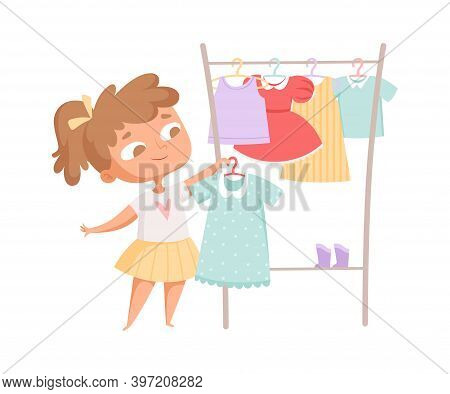 Buying Clothes. Girl And Dress, Clothes Rack. Cartoon Child In Fashion Store Choosing New Look Vecto