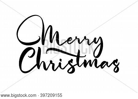 Vector Handwritten Elegant Lettering Type Of Merry Christmas On White Background.