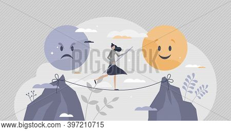 Emotional Balance As Good Feeling Choice Over Bad Mood Tiny Person Concept. Female On Slackline As T