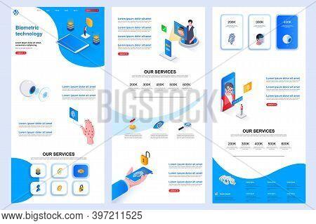 Biometric Technology Isometric Landing Page. Biometrics Identification Corporate Website Design Temp