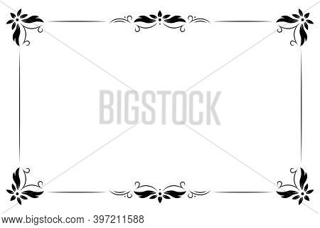 Black Vintage Frame Border On White Background. Retro Floral Ornament Pattern Vector Illustration. R