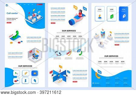 Call Center Isometric Landing Page. Online Consultation, Customer Support Corporate Website Design T