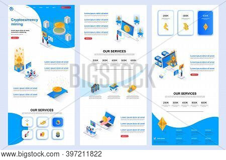 Cryptocurrency Mining Isometric Landing Page. Cryptocurrency Platform, Bitcoin Mining Corporate Webs