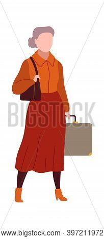 Woman In Airport. Modern Female Character Waits Plane With Luggage In Arrival Waiting Room Or Depart