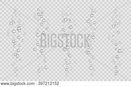 Soda Bubbles, Water Or Oxygen Air Fizz, Vector Dynamic Aqua Effervescent, Rising Up Underwater Fizzi