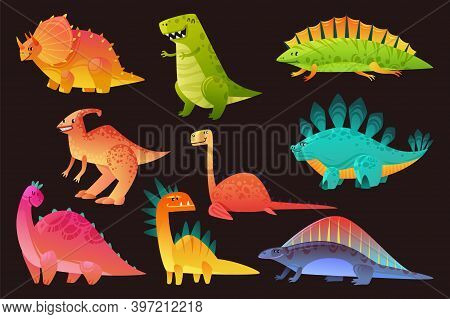 Dinosaur Wild Animal Set. Funny Cute Dinosaurs Wild Animals Dragon And Nature Reptile, Childish Brig