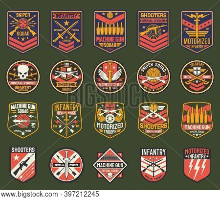 Military Chevrons Vector Icons, Army Stripes For Sniper Squad, Infantry Special Forces Division. Mac