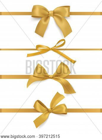 Gift Bows Ribbons. Realistic Decorative Golden Silk Tapes, Different Luxury Festive Satin Bow Types