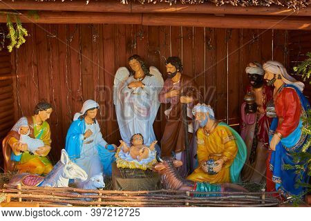 Nativity Scene Statuettes, Christmas Nativity Scene Represented With Statuettes Of Mary, Joseph And