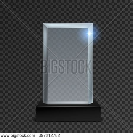 Acrylic Trophy. Glass Transparent Realistic Award On Black Stand, Blank Square Winner Prize. Creativ