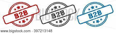B2b Stamp. B2b Round Isolated Sign. B2b Label Set
