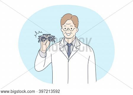 Doctor, Medicine, Healthcare Concept. Young Smiling Man Doctor Ophthalmologist In White Uniform Cart