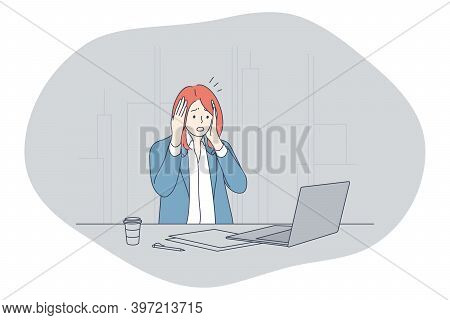 Stress, Overwork, Overload Concept. Unhappy Depressed Stressed Young Woman Office Worker Sitting Wit