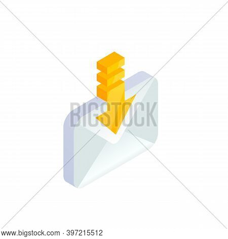 Receive Email, New Message Isometric Icon. E-mail With Arrow Sign. Incoming Letter. 3d Social Networ