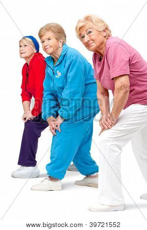 Senior Women Streching Legs.