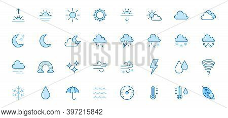 Weather Line Icons Set. Sun, Rain, Thunder Storm, Dew, Wind, Snow Cloud, Night Sky Minimal Vector Il