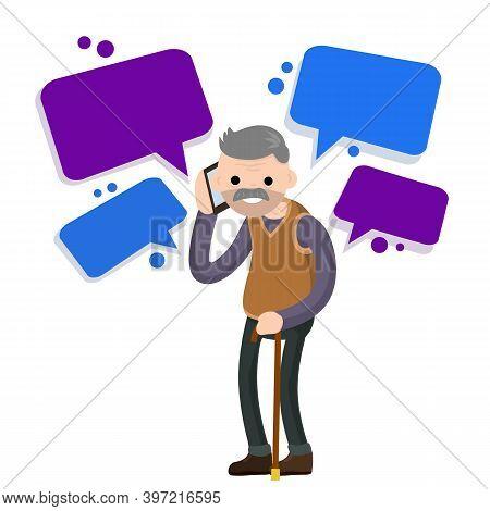 Grandfather Call On Phone. Old Senior Man.